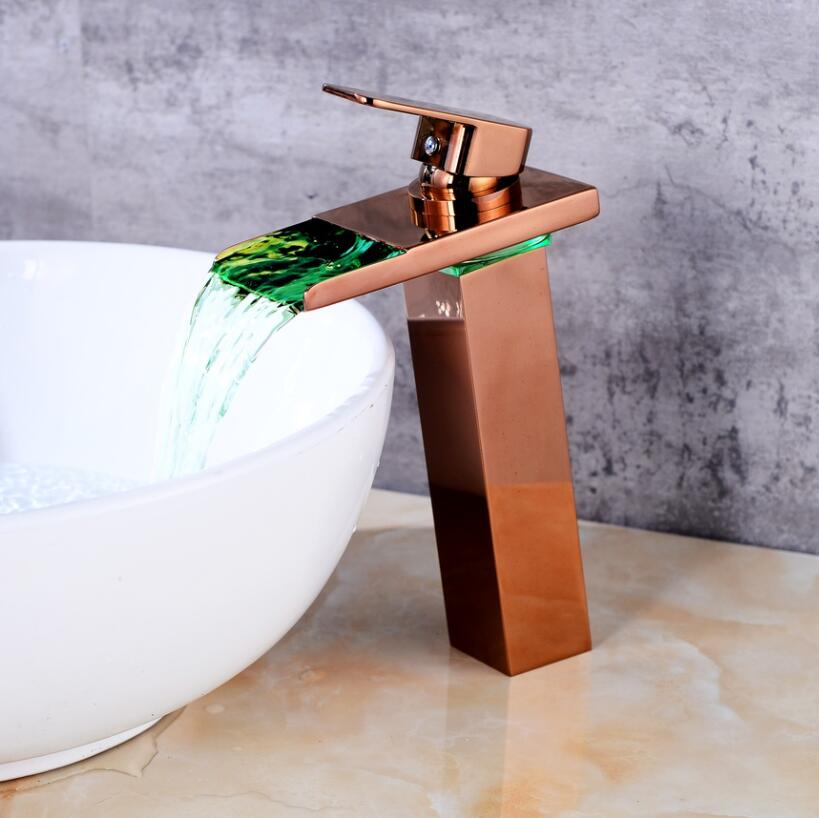 New Sink Tap Temperature Controlled Faucet,LED Crane Modern Water Tap Bathroom,Waterfall Faucet,Bathroom Faucets, Free Shipping water power faucet temperature controlled 3 colors led waterfall basin tap brass chrome bathroom faucet b 9001