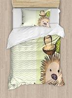 Mushroom Duvet Cover Set Cute Hedgehog Chevron Stripes Pattern Spiky Animal Wildlife Cartoon Design Decor 4 Piece Bedding Set