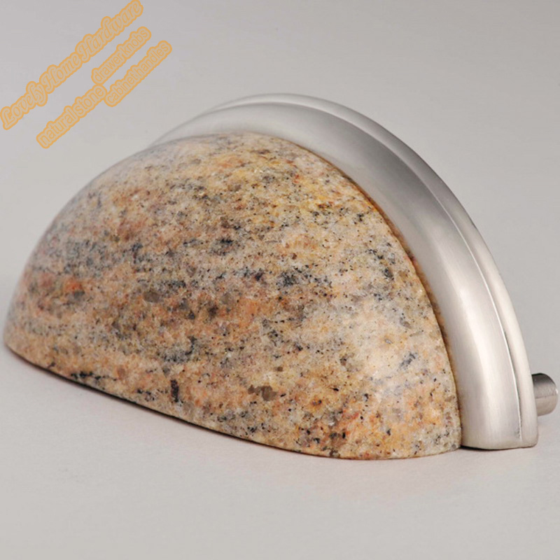 3 inch Kashmir Gold Granite Cup Handle,Natural Stone Cupboard Handles  Drawer Pulls,Creative