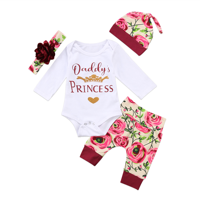 Newborn Infant Baby Girls Cotton Soft Romper Tops+Pants+Hat Outfits Clothes Sets