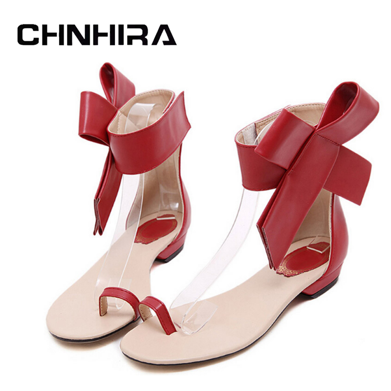 CHNHIRA Summer Flip Flops With Bowtie 2017 Gladiator Sandals Platform Shoes Woman Fashion Flats Elegant Women Shoes #CH408 slketu gladiator sandals summer style flip flops elegant platform shoes woman pearl wedges sandals casual women shoes st529 5