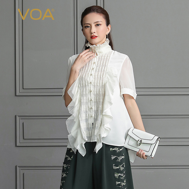 VOA White Women Tops Heavy Silk Blouse Plus Size 5XL Shirt Pearl Rococo Vintage Ruffle Sexy Mesh Summer Half Sleeve B325