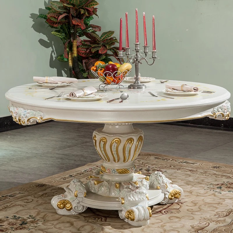 French classical baroque wood carved dining table Italian style European Court 1.5 meters round table