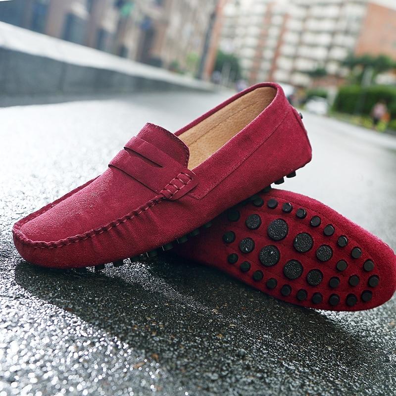 Do Falso Homens Homem Genuíno red Deslizamento Respirável Em Baixos De grey Calçados Casuais blue Camurça Sapatos Black Couro Mocassins yellow Dos zrfv8z