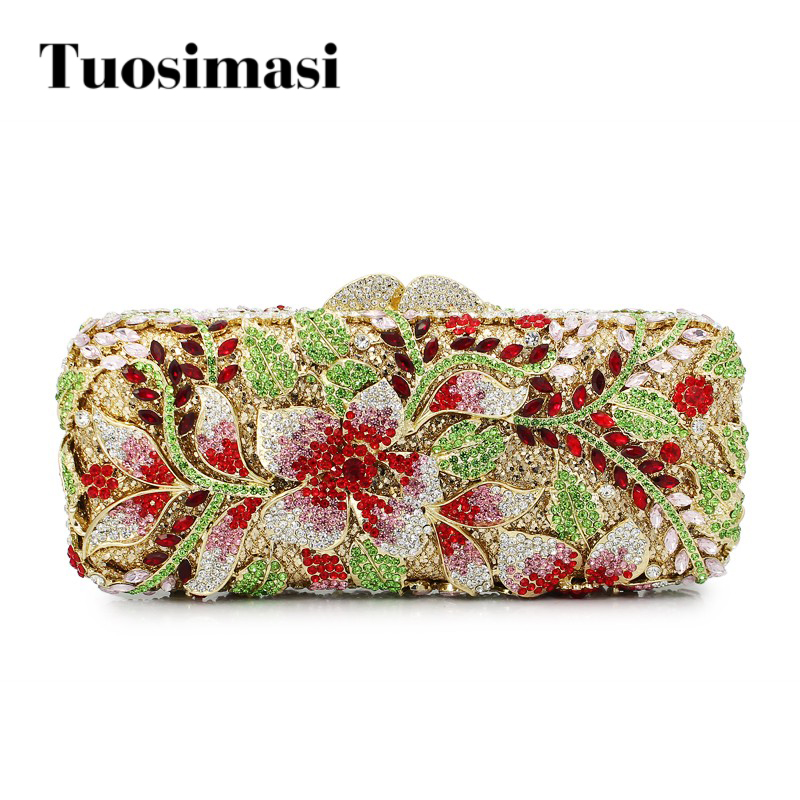 red flowers grey clutch diamond crystal clutch ladies evening bags (88136A-R) kinston flowers