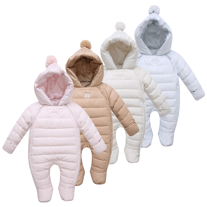 Baby Snowsuits Hooded Jumpsuit Down Jacket For Boys Girls Winter Clothing Warm Coats Solid Colors Kids Clothes Infantil Rompers