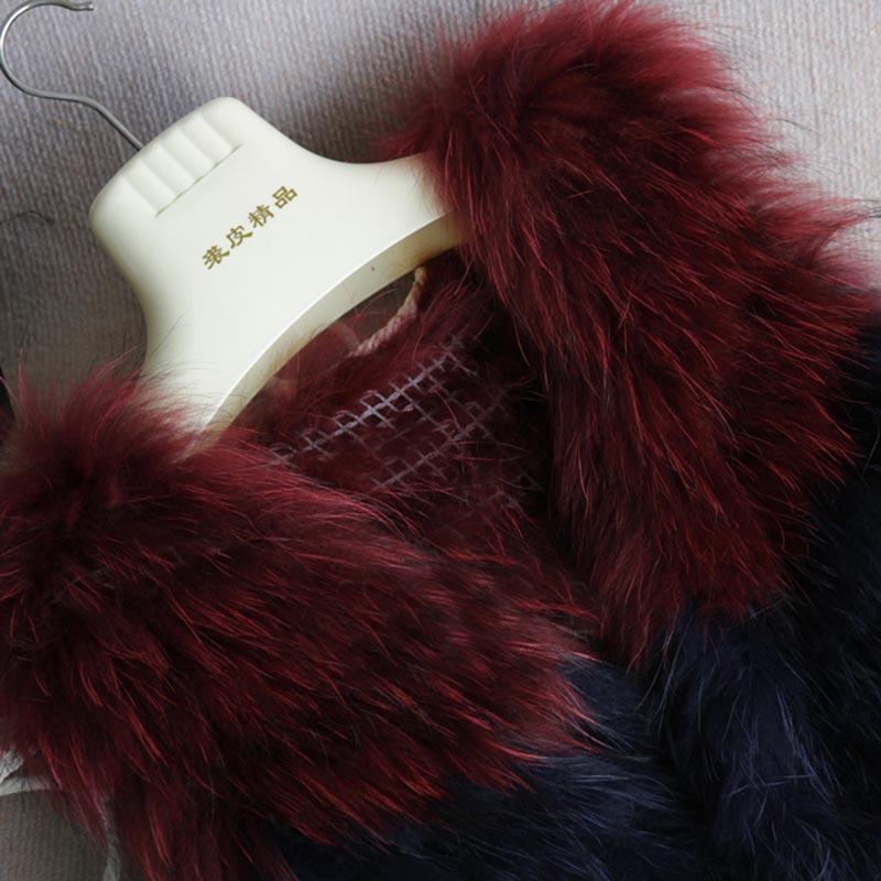 Laveur 2018 Femelle Green Manteau Mode Châle Patchwork Couleur Nouvelle Tricoté De Hiver Fourrure Renard Chien Réel Arrivée Mince Chaude Gilet Raton blue Luxe Femmes aaxA6rqB