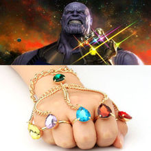 Fast Ship! Avengers Infinity War Thanos Finger Hand Chain Bracelets Gauntlet for cosplay halloween props one size fit most girls