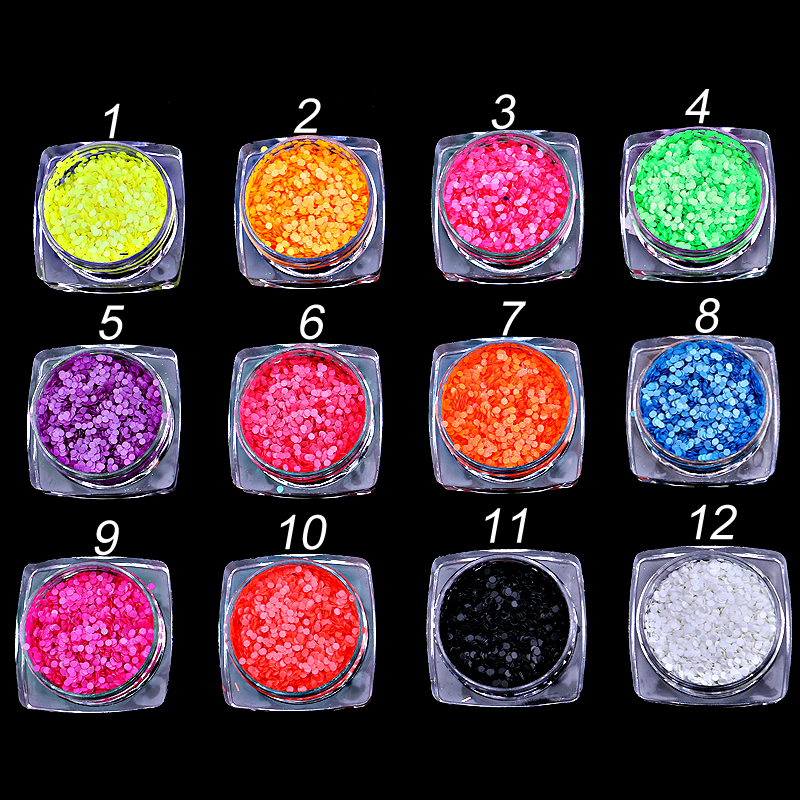 12jars/set candy sugar round Shapes Confetti sugaring Sequins For nails UV GEL Acrylic Powder Nail Art Decoration Accessories rhinestone bow 3d art resin nail decoration 60pcs mix candy color cute bowknot nails tip accessories phone decoration