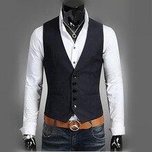 Новые 2016 мужчин чистый цвет моды V-образным Вырезом досуг деловой костюм жилет/мужская тонкий бутик случайный жилет куртка/Мужчины Жилеты
