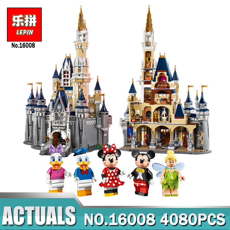 LEPIN 16008 Cinderella Princess Castle City Model Building Block Kids Educational Toys For Children Compatible with Legon 71040 lepin 16008 creator cinderella princess castle city 4080pcs model building block kid toy gift compatible 71040