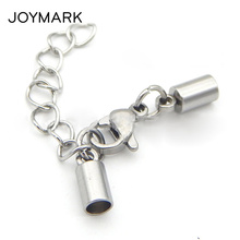 Купить с кэшбэком FNIXTAR 8 Sizes 1.2mm-6.0mm Hole Stainless Steel Round Cord End Caps Lobster Clasp With Extended Chain Jewelry Findings BXGC-038