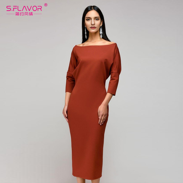 S Flavor Autumn Winter Solid Color Sheath Dress Three Quarter Sleeve Pencil Women Slash