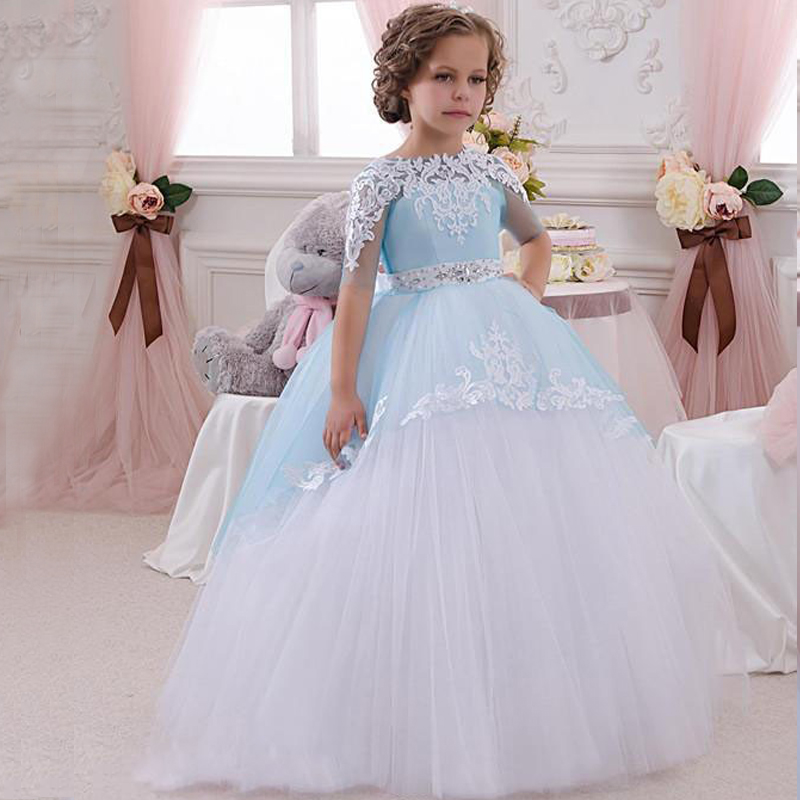 DIY Dress Kids Princess Pageant Long Dress Lace Organza Ball Gown ...