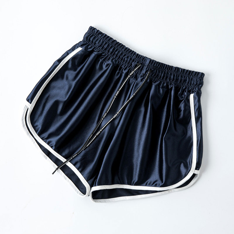 Satin High Waist Casual Women Shorts Summer 2020 Patchwork Body Fitness Workout Black Shorts Female Elastic Skinny Short Hot 5XL