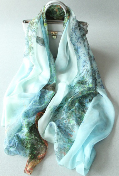 shistal- pure silk scarves branded famous oil painting print scarf design size 180*135 soft shawl for women