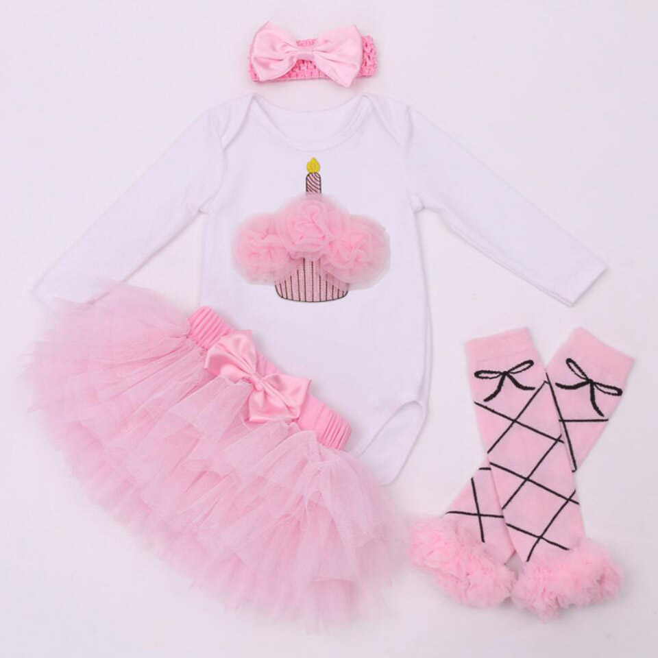 4PCs per Sets Infant Girl Clothes Hot Pink Love Cartoon Newborn Baby Girls Tutu Skirt Romper Leggings Headband