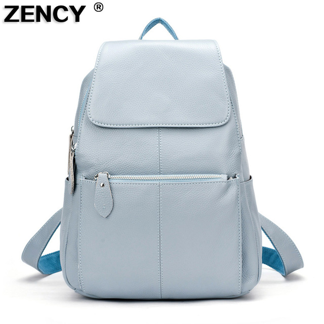 13 Colors ZENCY Backpack 100% Real Genuine Leather Top Layer Cowhide Women Female First Layer Cow Leather School style Backpacks