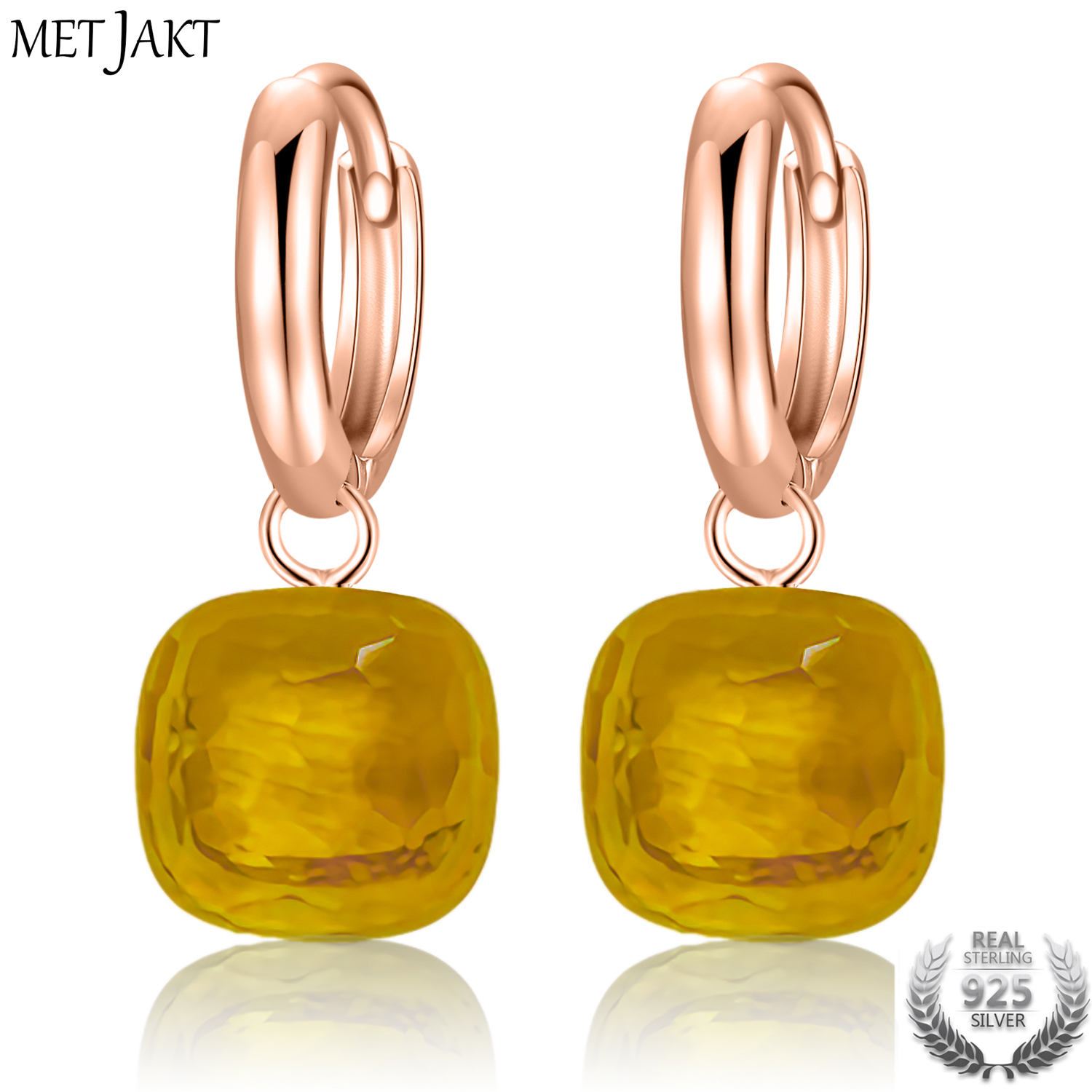 Us 22 01 38 Off Metjakt Clic Yellow Topaz Earrings Solid 925 Sterling Silver With Rose Gold Drop Earring For Women S Occasions Fine Jewelry In