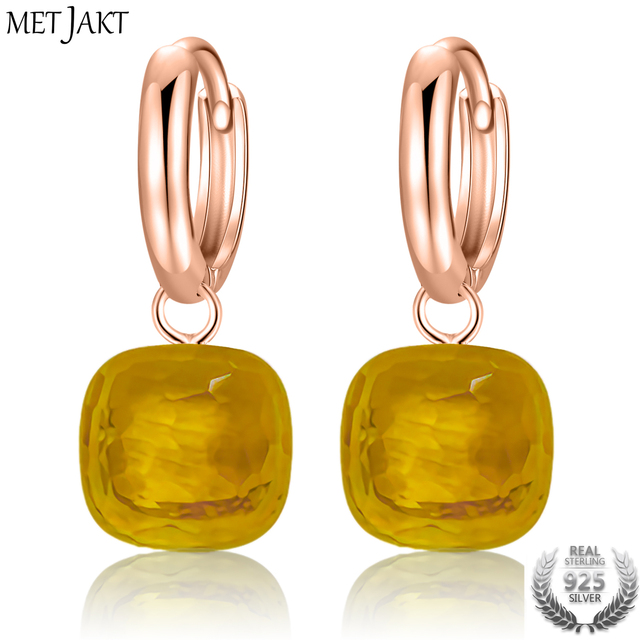 Metjakt Clic Yellow Topaz Earrings Solid 925 Sterling Silver With Rose Gold Drop Earring For Women S