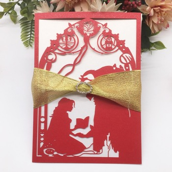 30pcs Laser Cut Beauty And The Beast Wedding Invitations Card with Ribbon&buckle Birthday Party Decorations Event&Party Supplies