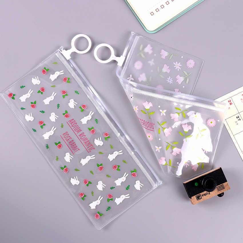 Kawaii Transparan PVC Tahan Air Pensil Case Stationery Tas Bunga Kecil Hewan Pensil Tas Sekolah Pelajar Hadiah