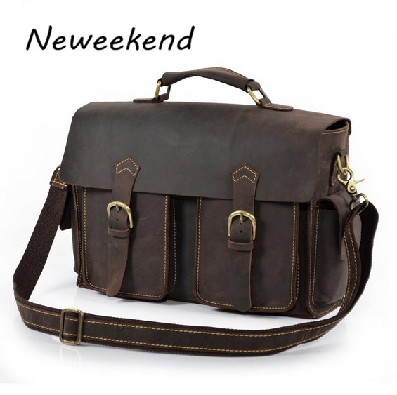 Neweekend Famous Large Real Genuine Leather Bag Handbags Briefcases Duffel Leather Laptop Bags Attache Designer for Men 6902