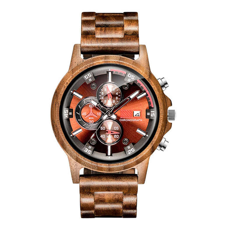 Reloj de madera con visualización de fecha para hombre, reloj de cuarzo militar para exterior, de lujo, para hombre, reloj de madera, reloj masculino