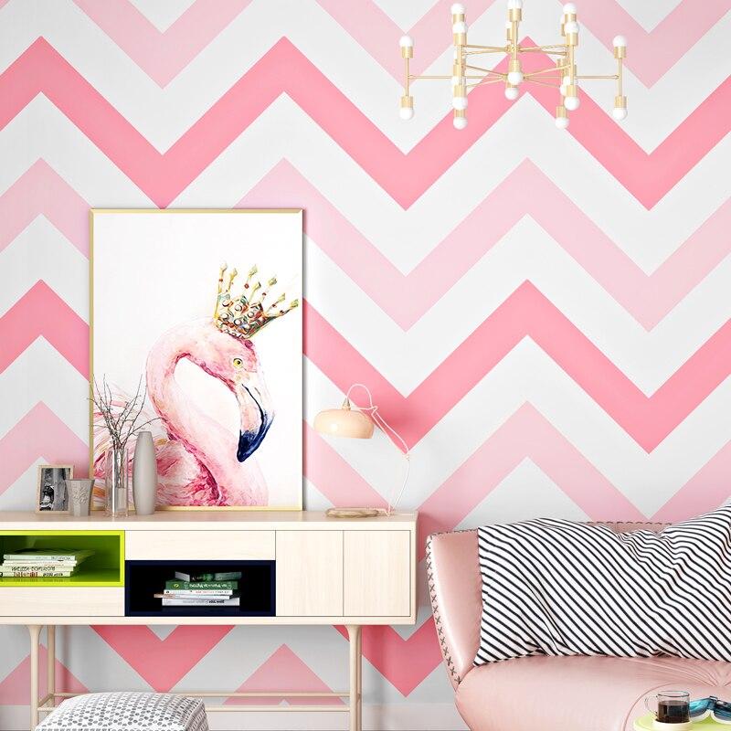 Modern Geometric Black Pink Striped Wallpaper Nordic Fashion Children's Room Bedroom Living Room Pure Paper Wallpaper Home Decor