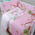 Pink Plaid Baby Girl Crib Bedding Sets,Baby Bed Bumper Toddler Bedding Crib Set,Nursery Bedding Quilt Mattress Liner Cot Sheets