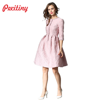 Peritiny Dress Female Autumn Winter Dresses Women 2018 O Neck Half Sleeve Single Breasted Ball Gown