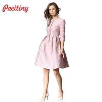 Peritiny Dress Female Autumn Winter Dresses Women 2018 O Neck Half Sleeve Single Breasted Ball Gown