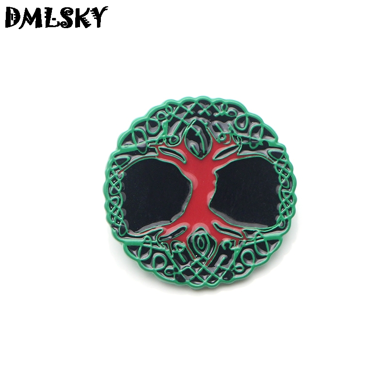 DMLSKY 20 pcs/lot nordique Viking sacré vie broche badge en métal femmes et hommes émail broches broche pour vêtements sacs chemise Pin M3090