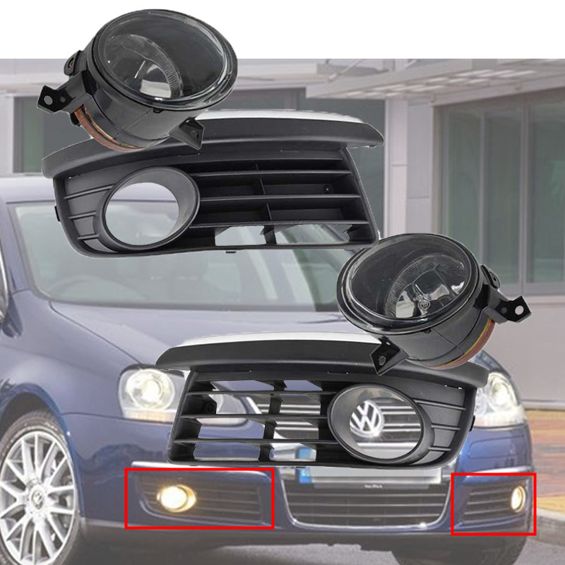 For 2006-2010 VW Jetta/ Bora MK5 Chrome Styling Bumper Grill+Fog Driving Light Set Left & Right Side vw bora выпускной коллектор