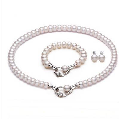 Real Genuine Natural Freshwater Pearl Jewelry Set Fashion Charm Jewelry Set