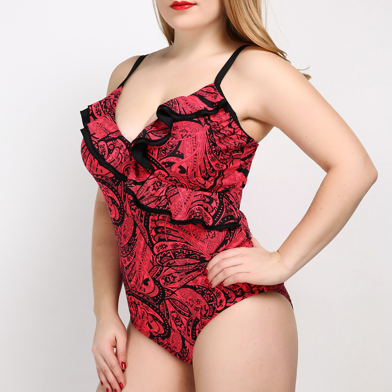 Sexy Summer Bodysuit One-piece Red Swimsuit Plus Size for Fat Women Floral Printed Large Cup Swimwear Beach Wear Red new summer beach top quality plus size sexy women one piece swimwear floral