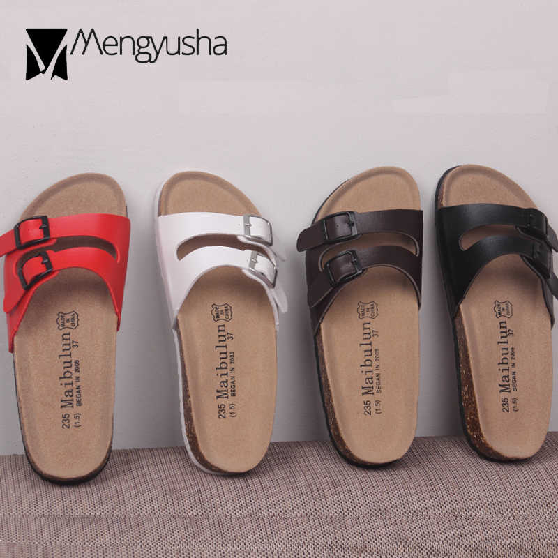 f981d7d4923 double buckle belt cork sandals women solid color beach slippers narrow  band platform sandalias lovers flip