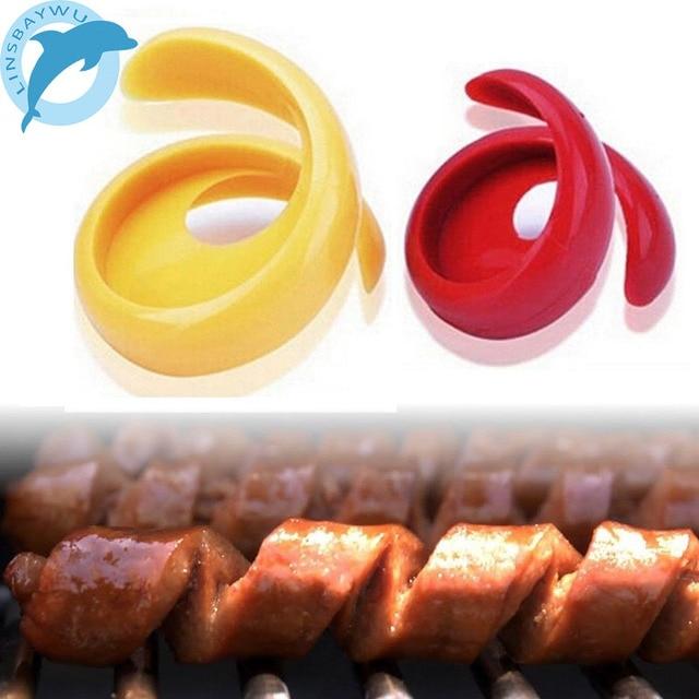 2 шт. руководство фантазии sausage резак спираль барбекю хот-доги Slicer кухонная разделочная вспомогательный гаджет фрукты овощи инструменты