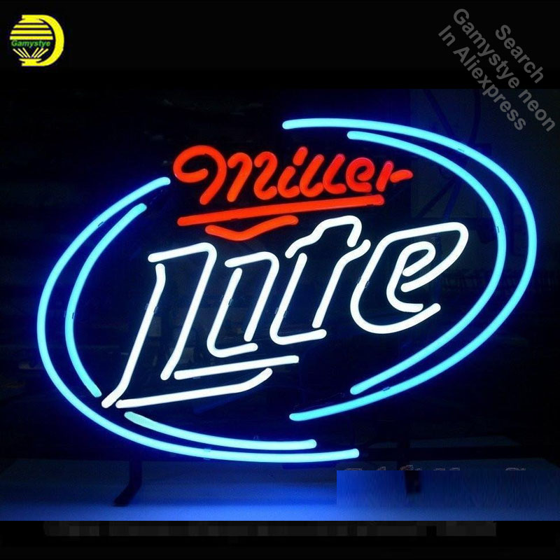 Neon Sign for Miller Lite Neon Bulbs Sign Beer Bar Pub light Advertise Store Display Neon Tube Sign handcraft Publicidad lamp