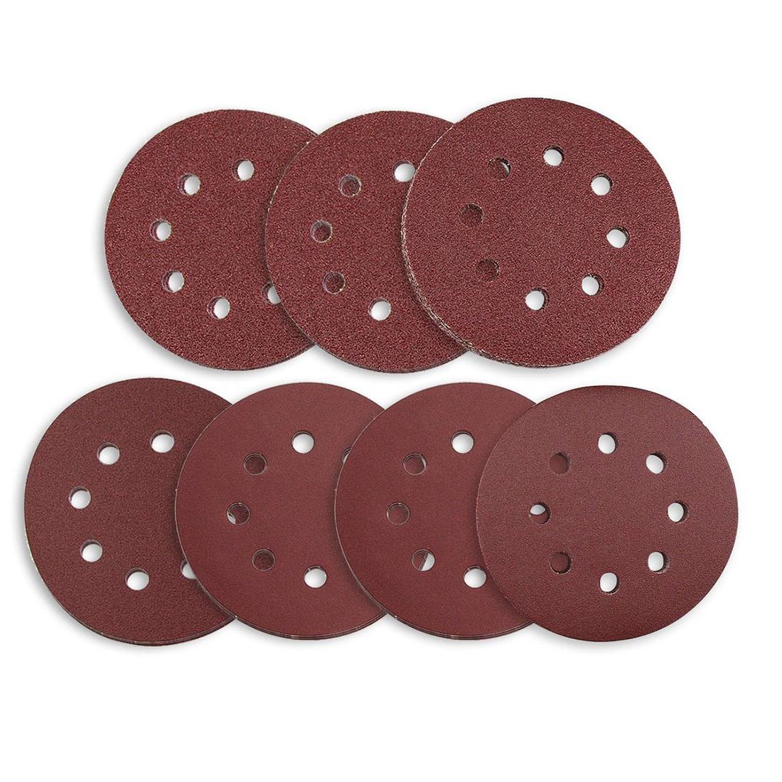 Hot sale Sanding Discs 70 Pcs 8 Holes 5 Inch Sandpaper Circular Dustless Hook and Loop 60/ 80/ 120/ 180/ 240/ 320/ 400 Grit As