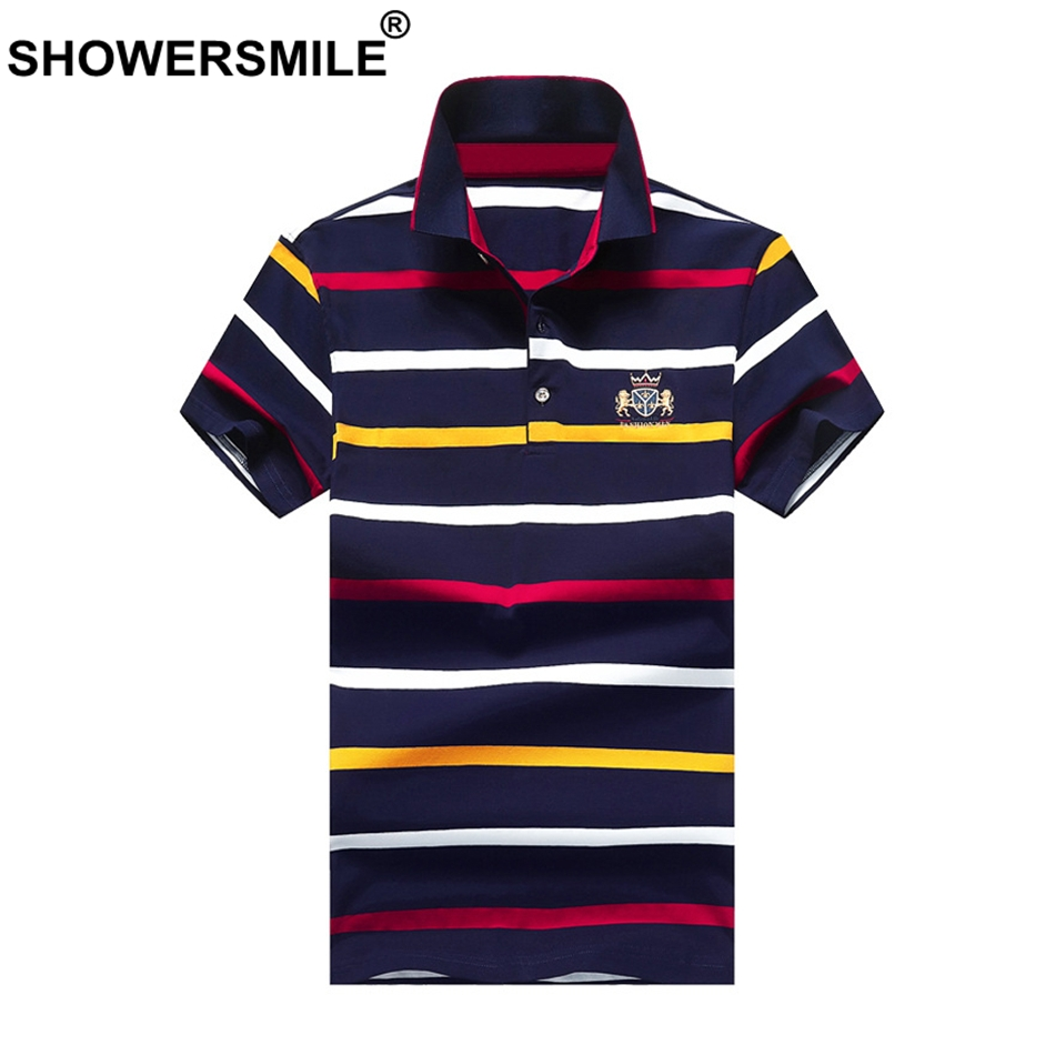 SHOWERSMILE Striped   Polo   Shirts Men's Summer   Polo   T Colorful Tops Embroidery Cotton Male Casual Brand Fashion Plus Size   Polo