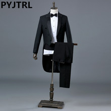 PYJTRL England Gentleman Two-piece Black White Groom Cheap Wedding Tuxedos Suits For Men Classic Tail Coat With Pants Slim Fit(China)