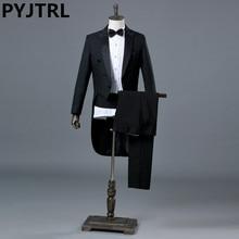 PYJTRL Engeland Gentleman tweedelige Zwart Wit Bruidegom Goedkope Wedding Tuxedos Suits Voor Mannen Classic Staart Jas Met Broek Slim Fit