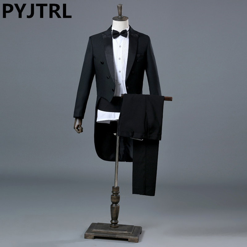 PYJTRL England Gentleman Two-piece Black White Groom Cheap Wedding Tuxedos Suits For Men Classic Tail Coat With Pants Slim Fit