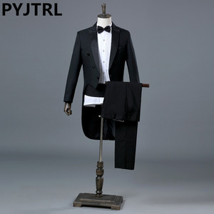 Image 1 - PYJTRL England Gentleman Two piece Black White Groom Cheap Wedding Tuxedos Suits For Men Classic Tail Coat With Pants Slim Fit