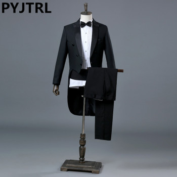 PYJTRL England Gentleman Two-piece Black White Groom Cheap Wedding Tuxedos Suits For Men Classic Tail Coat With Pants Slim Fit - discount item  40% OFF Suits & Blazer