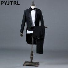 PYJTRL Inglaterra Cavalheiro Two piece Preto Branco Do Noivo Casamento Barato Smoking Ternos Para Homens Clássico Cauda Casaco Com Calças Slim Fit