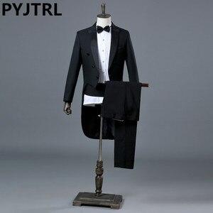 Image 1 - PYJTRL イングランド紳士ツーピース黒ホワイト新郎格安ウェディングタキシードスーツ男性のクラシックテールコートとパンツスリムフィット