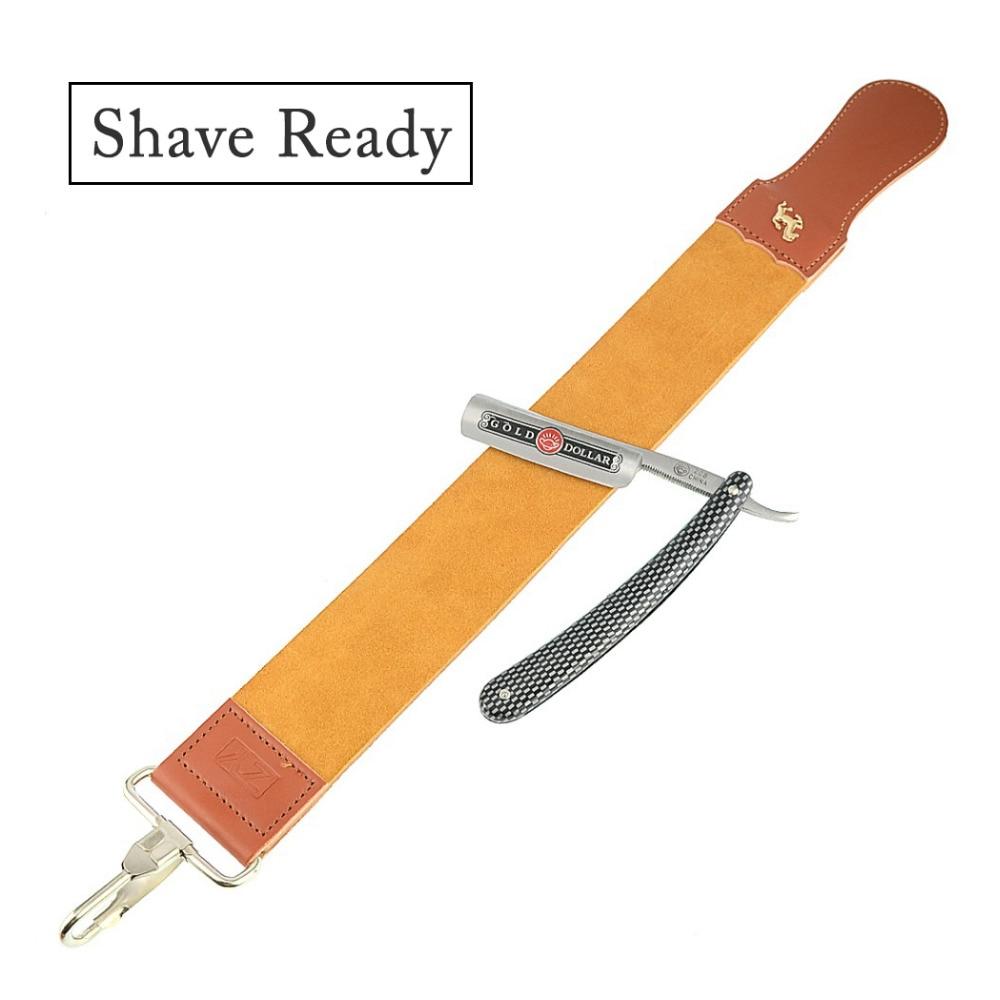 ZY 2pcs Straight Razor Shaving Razor Gold Dollar 208+Leather Sharpening Strop Strap For Man Barber