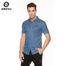 Men s Shirt Brand Clothing 2018 New Bamboo Linen Fabric Solid Shirt Casual  Dress Soft Short Sleeves 4f0ba2123b2a